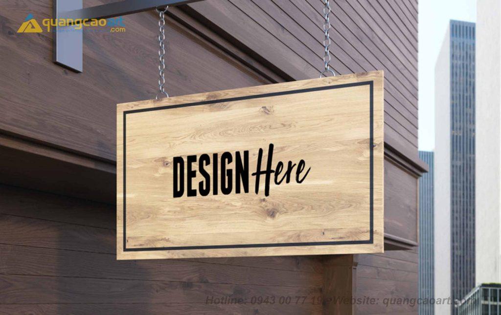 mẫu bảng hiệu quảng cáo bằng gỗ